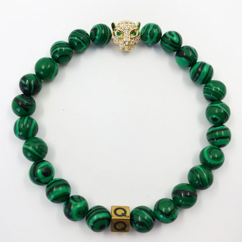 Emerald Panther Green Imperial Jasper Beads Bracelet
