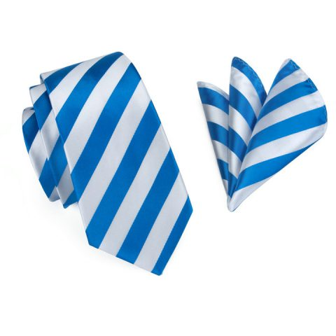 Modern Luxury Silk Ties and Pocket Squares by QUISENZ Flashy Blue on White Stripes