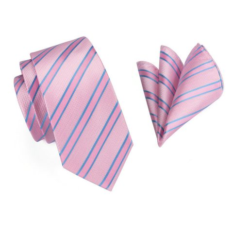 Modern Luxury Silk Ties and Pocket Squares by QUISENZ Double Pink & Thin Blue
