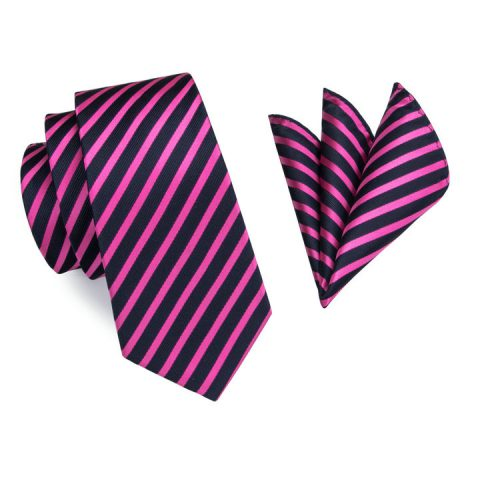 Modern Luxury Silk Ties and Pocket Squares by QUISENZ Pink & Navy Blue