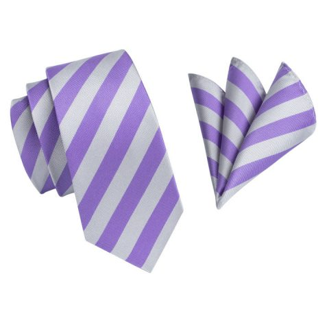 Modern Luxury Silk Ties and Pocket Squares by QUISENZ Violet & Grey