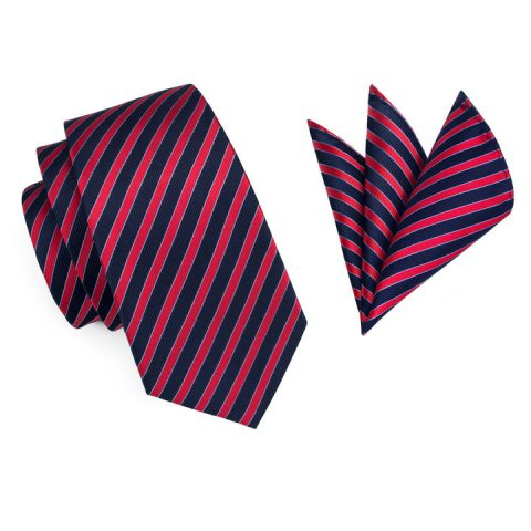Modern Luxury Silk Tie and Pocket Square Red, Navy Blue Thin Stripes