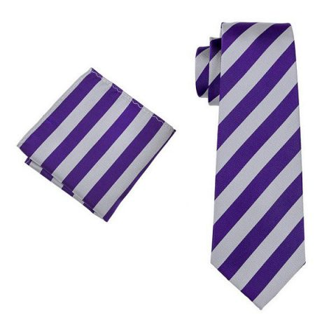 Modern Luxury Silk Tie and Pocket Square Purple, Grey