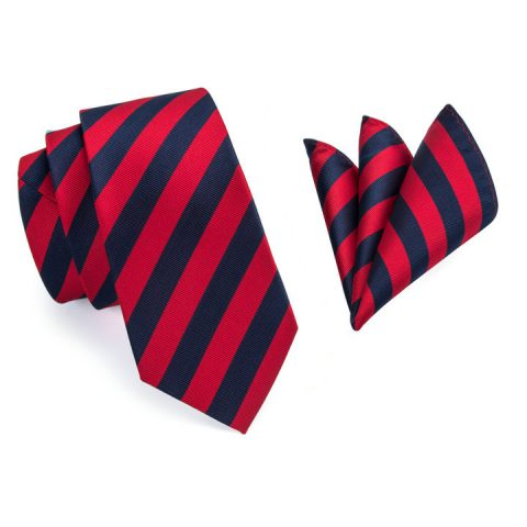 Modern Luxury Silk Tie and Pocket Square Red, Navy Blue