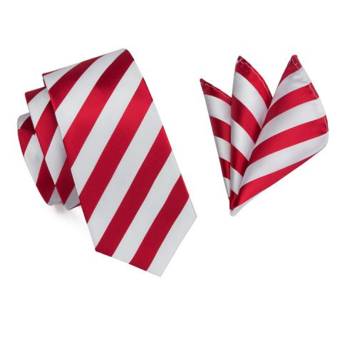Modern Luxury Silk Ties and Pocket Squares by QUISENZ Flashy Red on White Stripes