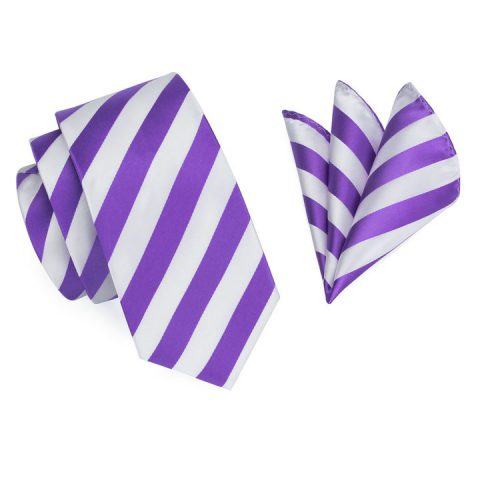 Modern Luxury Silk Ties and Pocket Squares by QUISENZ Light Purple on White Stripes