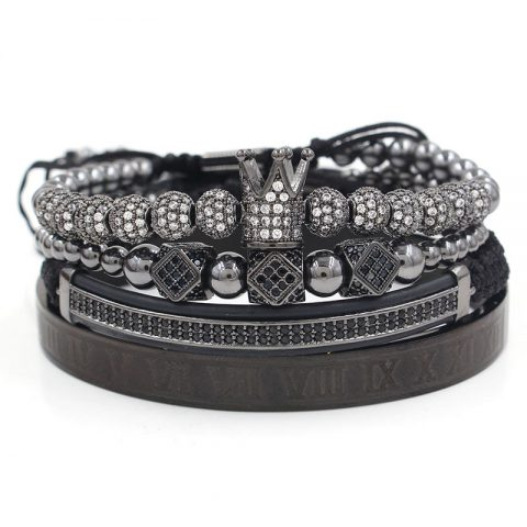 Royal Crown Bracelet Set (Black)