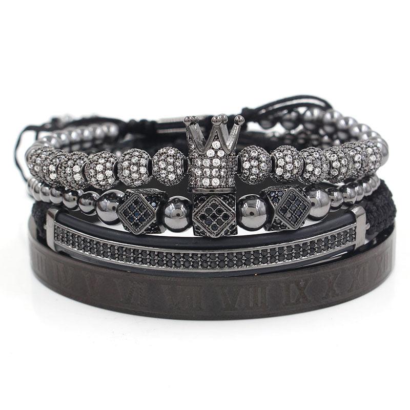 Royal Crown Bracelet Set (Black)