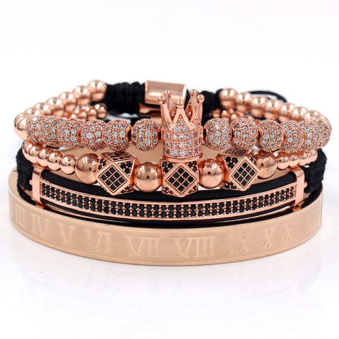 Royal Crown Bracelet Set (Rose Gold)
