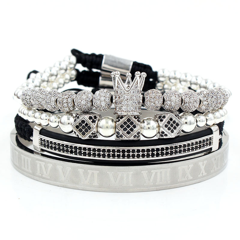 Royal Crown Bracelet Set (Silver)