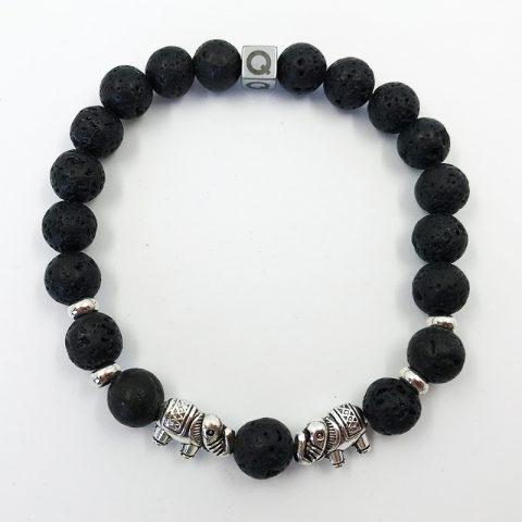Sacred Elephant Black Lava Beads Bracelet