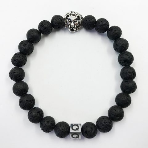 Silver Lion Black Lava Beads Bracelet
