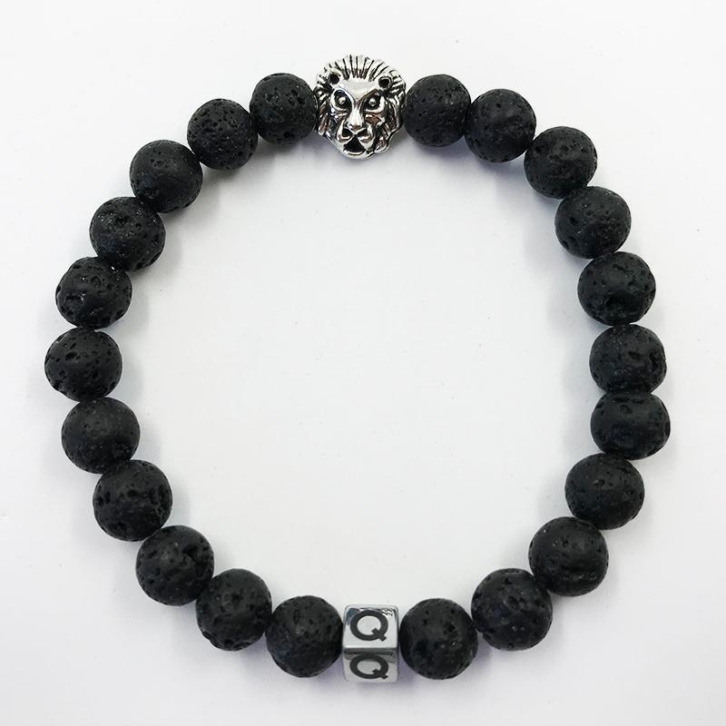 Silver Lion Black Lava Beads Bracelet
