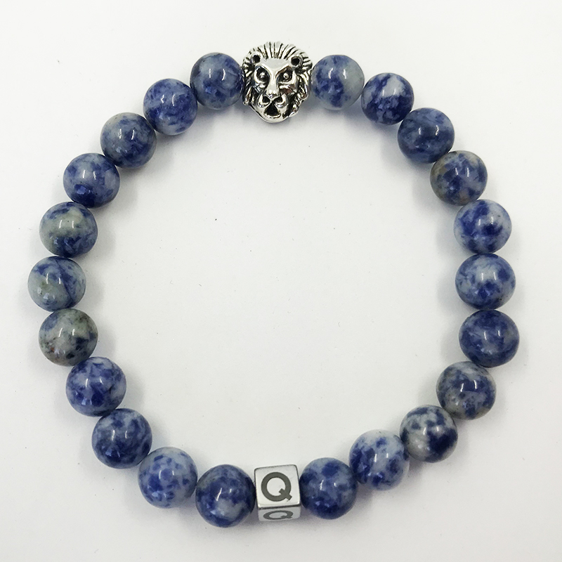 Silver Lion Blue Imperial Jasper Beads Bracelet