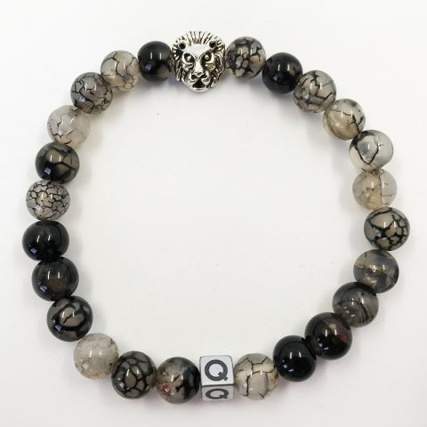 Silver Lion Cracked Marble Beads Bracelet
