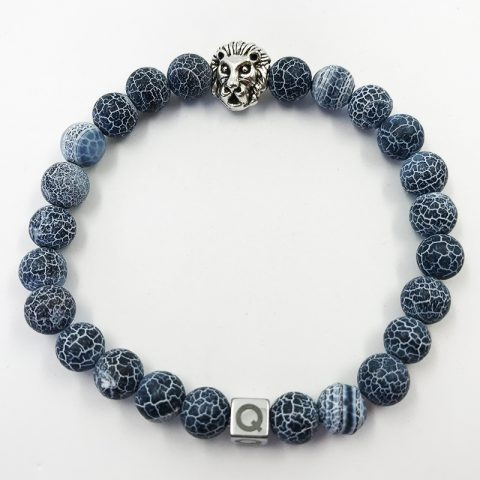 Silver Lion Electric Blue Beads Bracelet