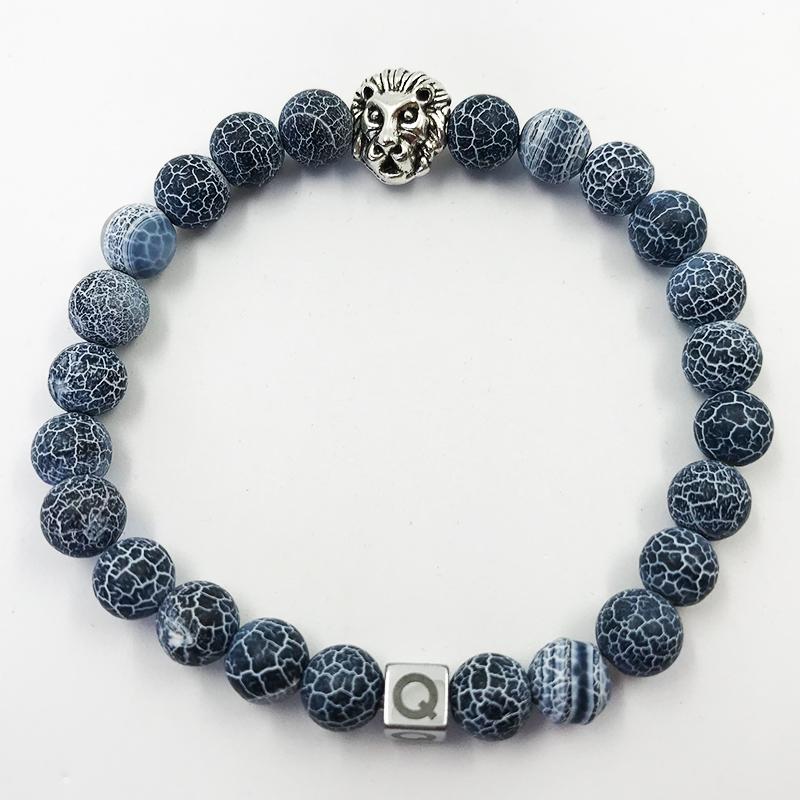 Silver Lion Electric Blue Beads Bracelet