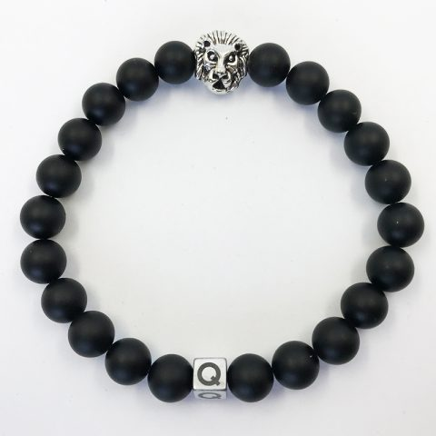 Silver Lion Polished Black Lava Beads Bracelet