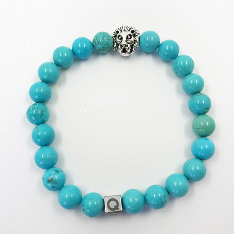 Silver Lion Polished Turquoise Beads Bracelet