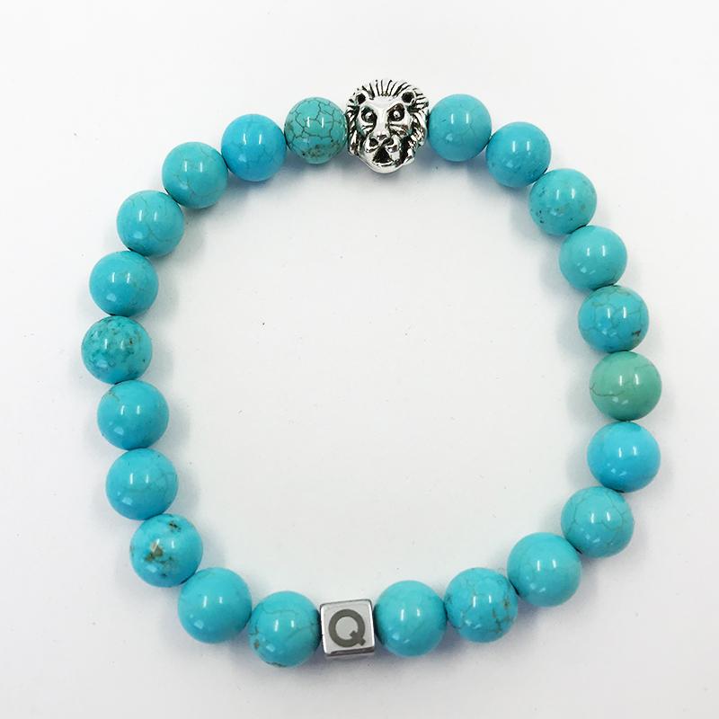 Silver Lion Polished Turquoise Beads Bracelet