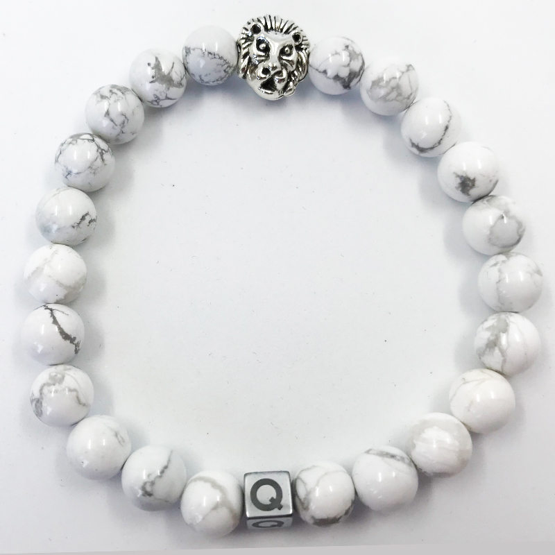 Silver Lion White Marble Beads Bracelet