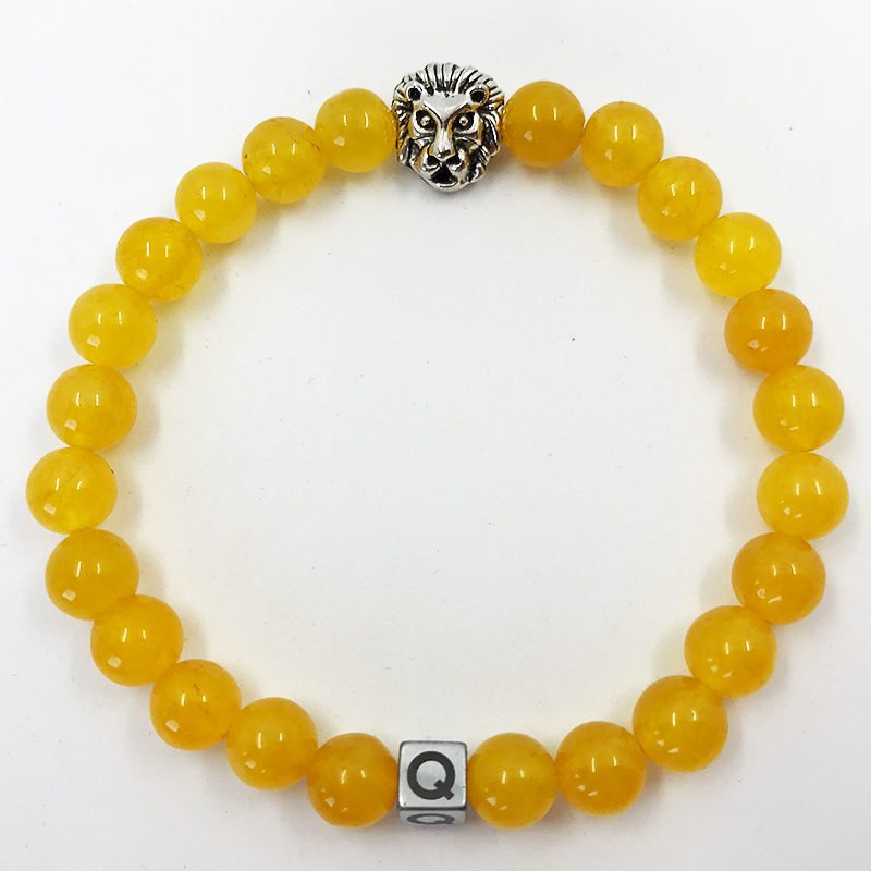 Silver Lion Yellow Glass Beads Bracelet
