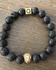 The Lion Bracelet Black Spiritual Lava Beads