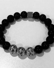 The Triad Bracelet Obsidian Rock Soul Beads