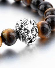 Tiger Eye Stone Beads Lion Head Bracelet